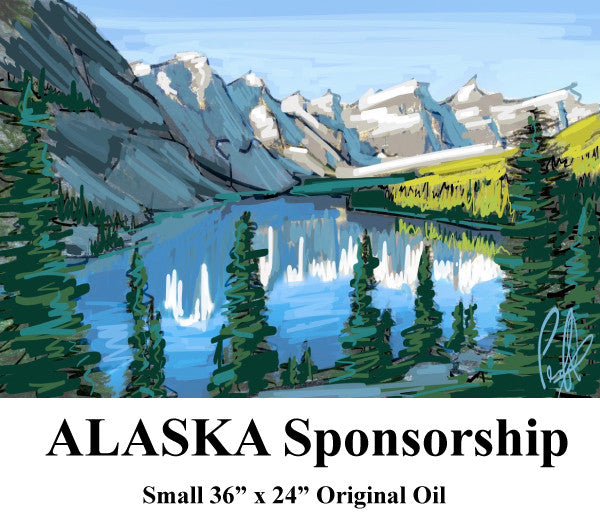 "Alaska Sponsorship - Small 36"" x 24"" Original Oil"