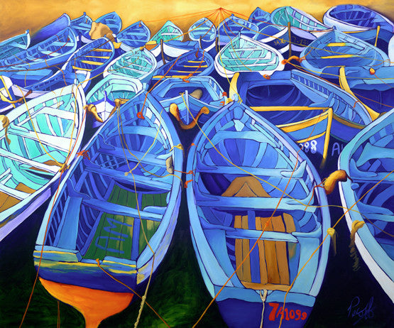 Blue Boats of Essaouira Perfect Giclee on Metal