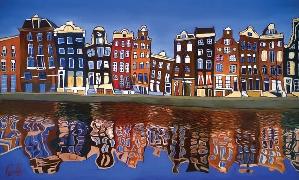 Canal Homes of Amsterdam Perfect Giclee on Metal