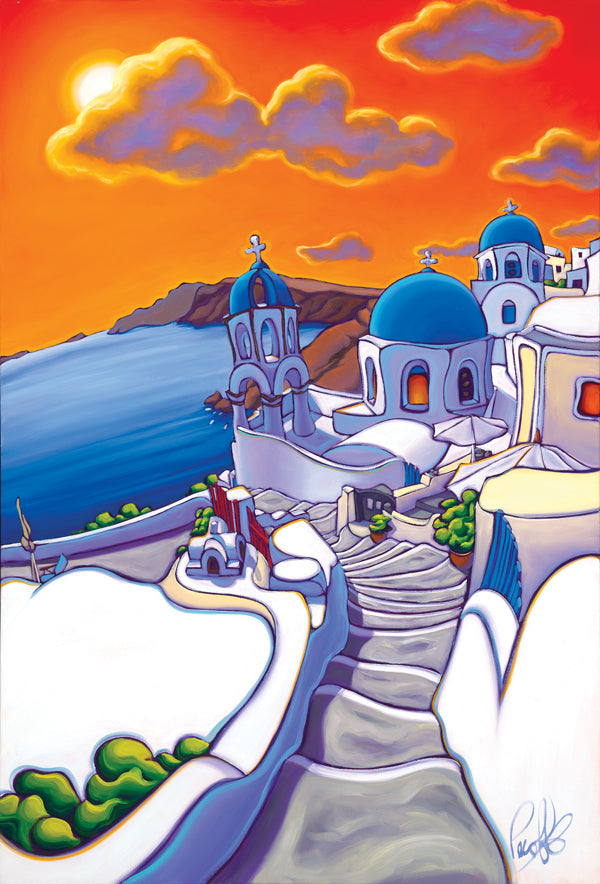 Chasing the Sun in Santorini Matted Print 8x10 (11x14 mat)