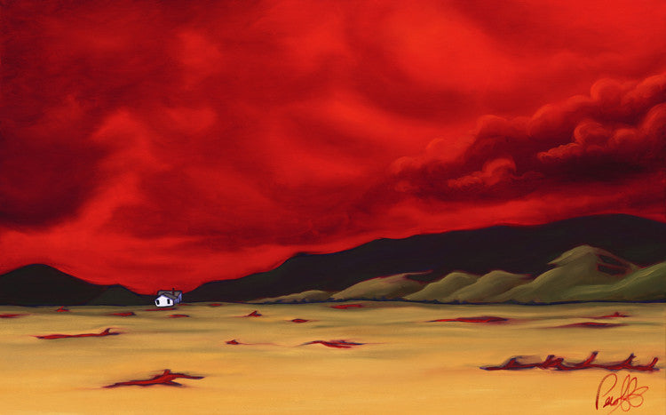 Crimson Clouds over a Lone Farmhouse Perfect Giclee on Metal