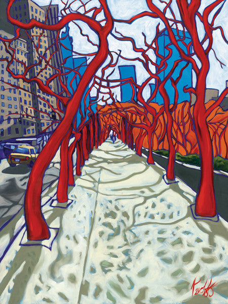 Fantastic Twisted Red Trees Perfect Giclee on Metal