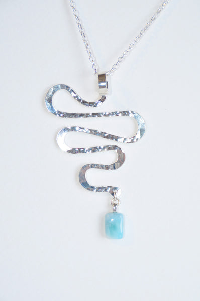 Journey Necklace Sterling Silver w/Larimar Stone