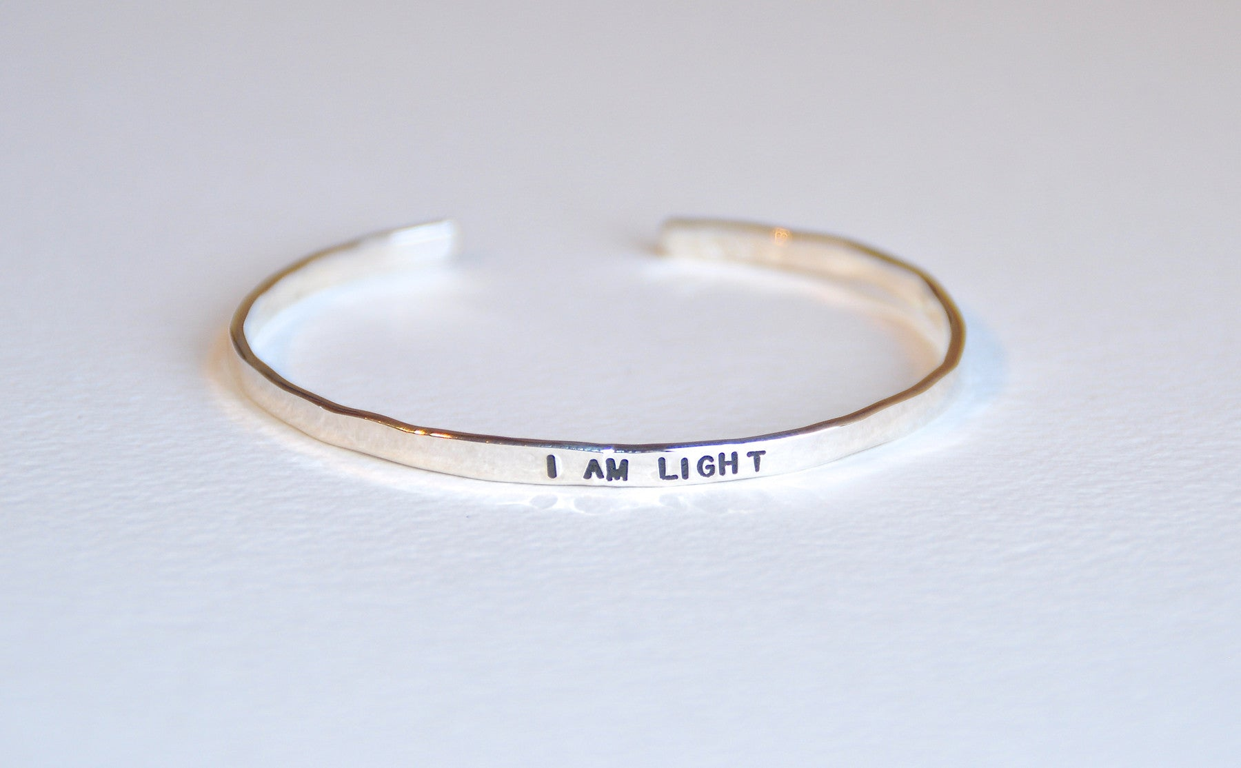 Thin Bracelet Sterling Silver  - I AM LIGHT