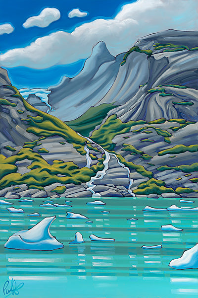 Infinite Waterfalls in the Fjords of Alaska Matted Print 8x10 (11x14 mat)