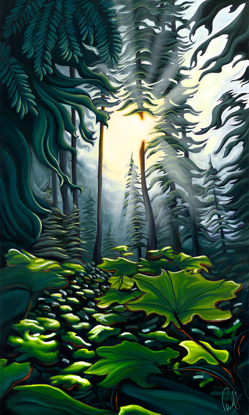 Light in the Forest Matted Print 8x10 (11x14 mat)