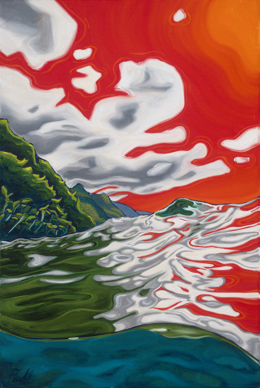 Liquid Sunset over Na Pali Coast Perfect Giclee on Metal