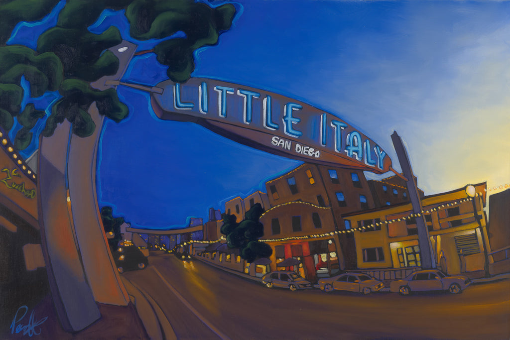 Little Italy Comes to Life Perfect Giclee on Metal