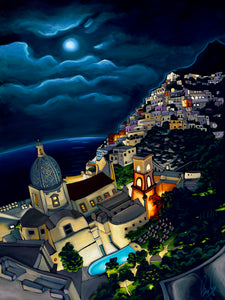 Positano at Night Matted Print 8x10 (11x14 mat)