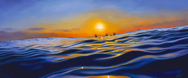 Sunset Surf Perfect Giclee on Metal