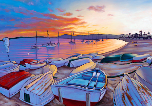 Sunset on San Diego Bay Matted Print 8x10 (11x14 mat)