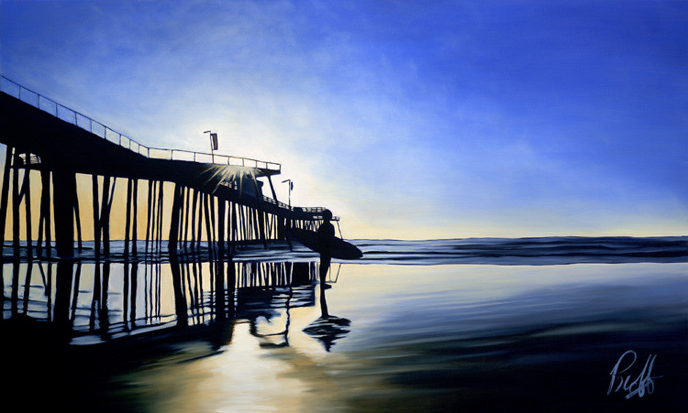 Surfin' the Pier Perfect Giclee on Metal