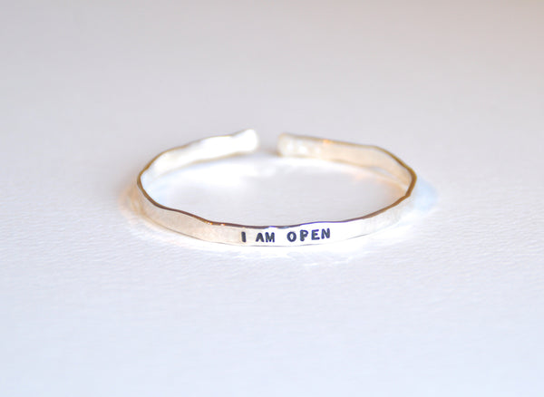Thin Bracelet Sterling Silver - I AM OPEN