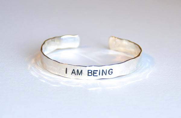 Wide Bracelet Sterling Silver - I AM BEING
