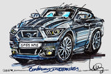 Ford Mustang GT | #ContinuousCar metal print | 30cm x 20cm