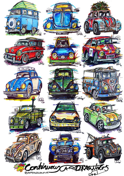 #ContinuousCar poster print collection | Classic Volkswagen