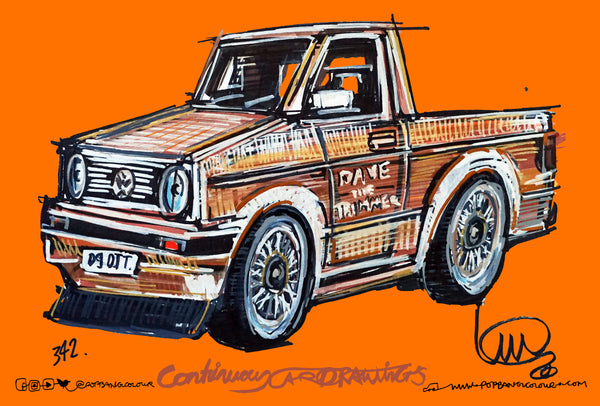 Volkswagen Caddy 'Dave The Trimmer' | #ContinuousCar metal print | 30cm x 20cm