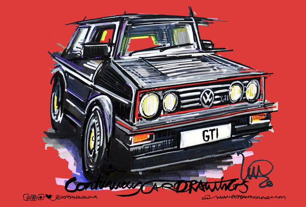 Volkswagen Golf GTi - Red | #ContinuousCar metal print | 30cm x 20cm