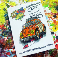 "Limited edition VW ""Baloo the Beetle"" orange enamel pin badge - 