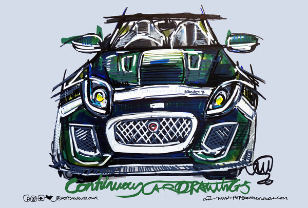Jaguar F-TYPE Project 7 - TR Howard | #ContinuousCar metal print | 30cm x 20cm