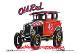 'Old Red' - C for Craig | #ContinuousCar metal print | 30cm x 20cm