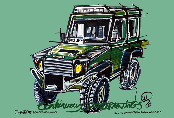 Land Rover Defender - Tree surgery | #ContinuousCar metal print | 30cm x 20cm