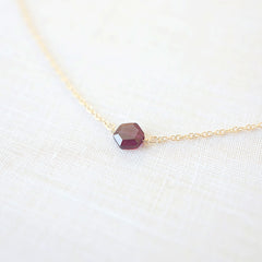 Mini Garnet Hexagon Necklace