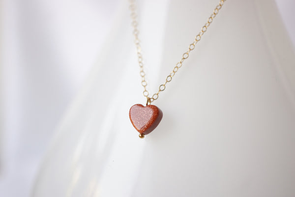 Goldstone Heart Necklace