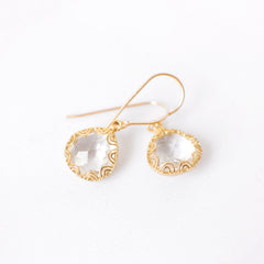 Gold Framed Crystal Earrings