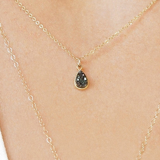 Tiny Teardrop Druzy Necklace
