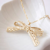 14k Gold Dipped Lace Bow