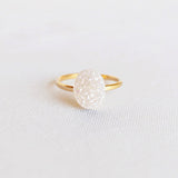 14K Gold Filled White Oval Druzy Ring