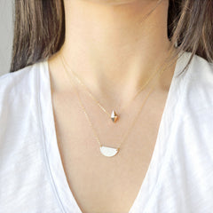 14k Gold Fill Half Moon Necklace