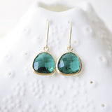 Emerald Glass & 14k Gold Filled Dangle Earrings