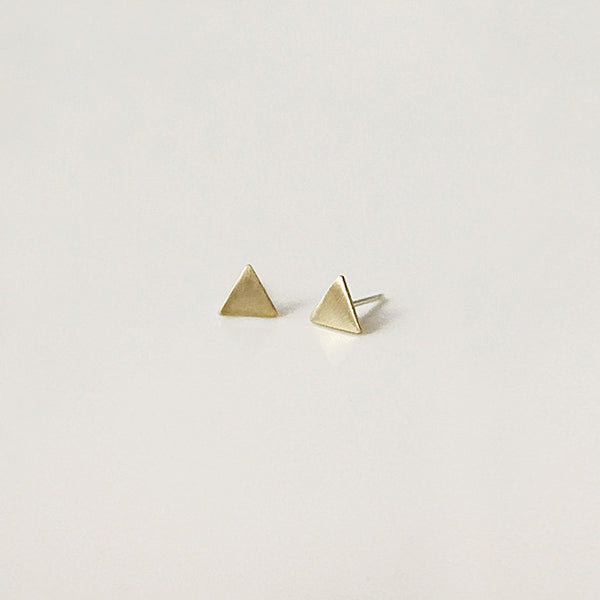 Brushed Gold Triangle Studs