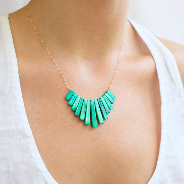 Emerald Fan Necklace