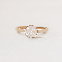 14k Gold Filled White Druzy Ring