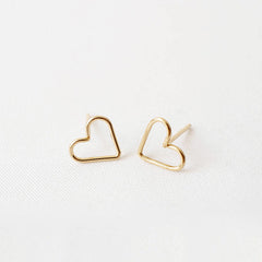 Tiny 14k Gold Filled Heart Studs