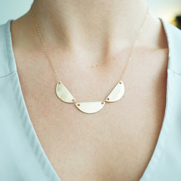 Brushed Brass Scallop Necklace