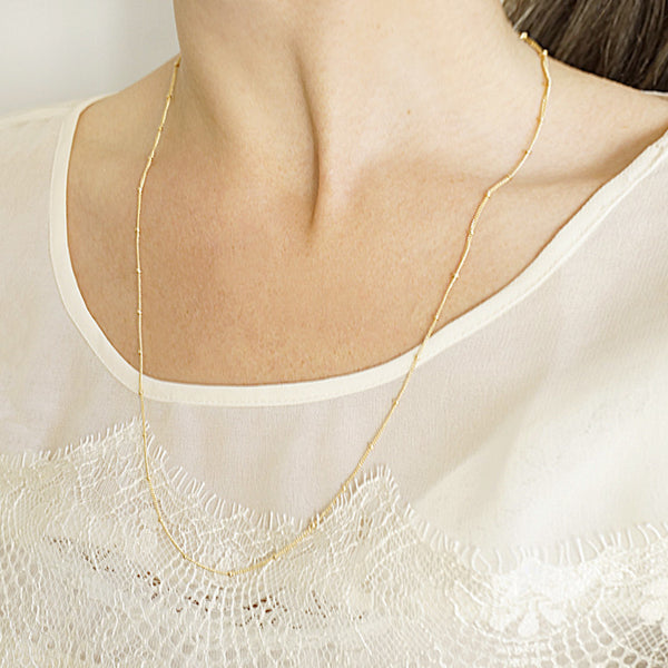 14k Long Dotted Layering Necklace