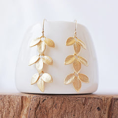 Gold Petiole Earrings