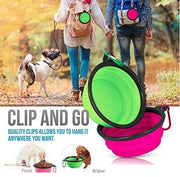Collapsible Dog Bowls with Color Matched Carabiner Clips