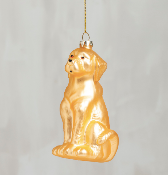 Yellow Lab Glass Ornament