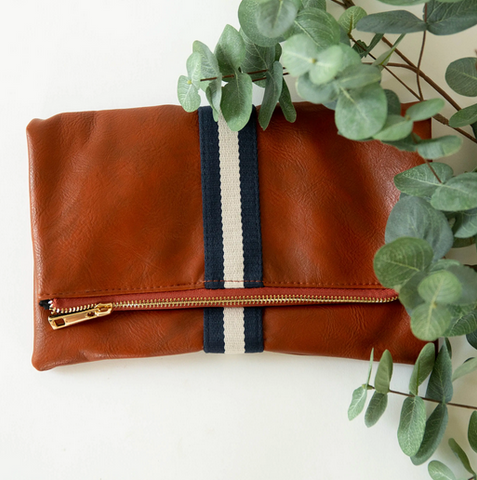 Fold-Over Clutch - Navy/White Stripe