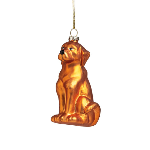 Chocolate Lab Glass Ornament