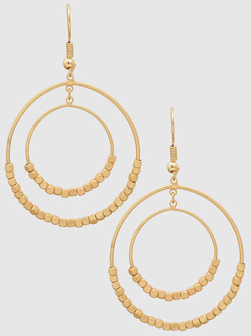 Gold Round Dual Round Earrings