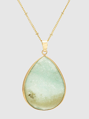 Natural Stone Teardrop Long Necklace