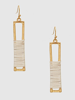 Gold Wire Wrapped Rectangle Drop Earrings
