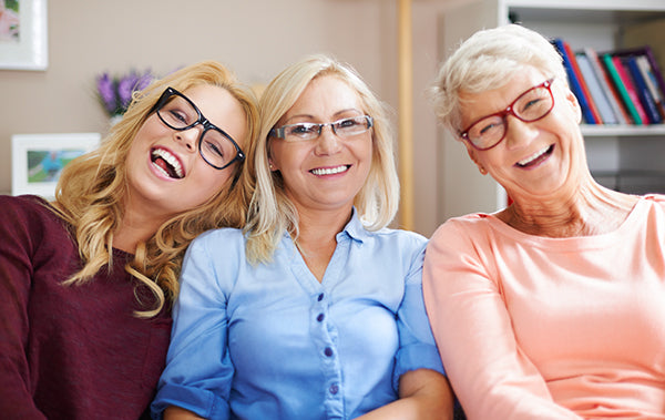 Three Generations of Glasses-Wearing Women