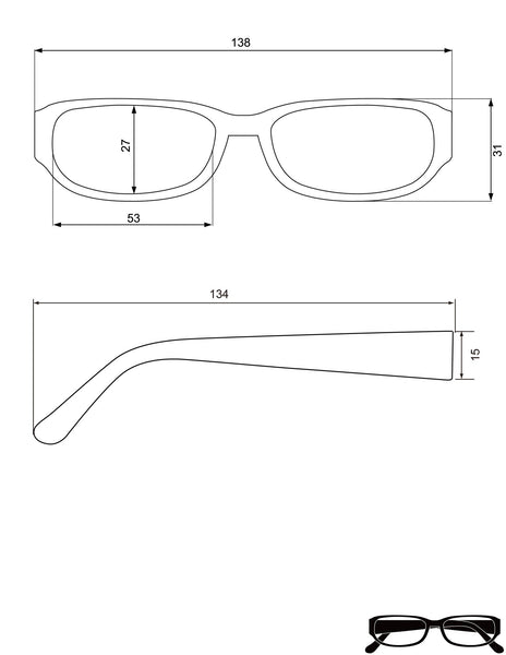 Reading Glasses Dimensions